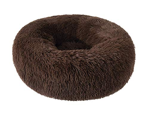 Pet Calming Cushion Donut Bed by Exceleor for Cats or Dogs, Anti-Slip Durable Machine Washable Self Warming Indoor (80X80, Brown).