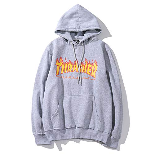 Mode Lässig Hoodie Pullover Hip Hop Street Wind Flame Sweatshirts Unisex Langarm Kapuzenpullover,Grey-M