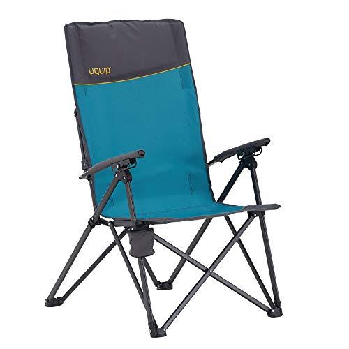 Uquip Becky - Chaise de Camping Inclinable - Dossier Réglable en 3 Positions - Accoudoirs avec Porte-Gobelet Intégré - Capacité de Charge 120 kg