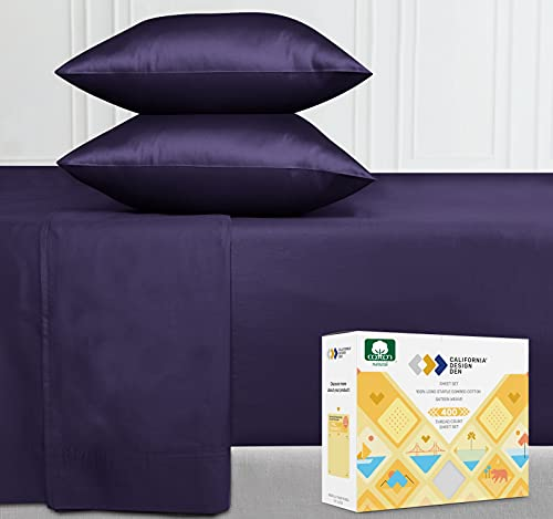 Pure Combed Cotton King Sheets - 4 Piece Dark Purple Durable Bed Sheet Set, 400 Thread Count Sateen Bedding, Elasticized Deep Pocket Fits Low Profile Foam and Tall Mattresses