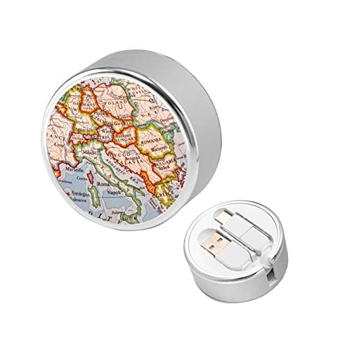 Europe Map Globe Countries States Retractable Charging Cord Multi Charger Cable Type C 2 in 1 Charge Adapter