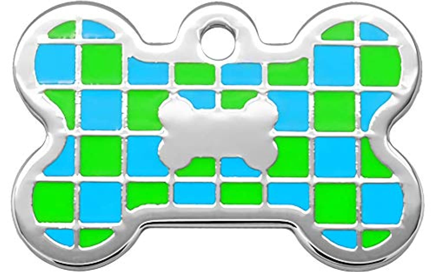 Pet Identification Tag [Personalized Free Custom Engraved] Dog and Cat Collar ID Tags   Checker Bone, Large or Small