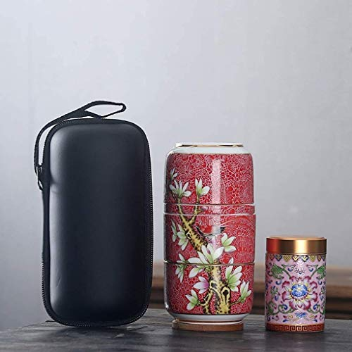 Travel Tea Set Ceramic Portable Teaware Sets with Carring Cases Teapot with Filter Flower Teawares