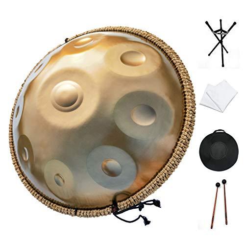 Handpan drum instrument, AS TEMAN handpan,Handpan drum in D Minor 9 Notes 22 inches Steel Hand Drum with Soft Hand Pan Bag, 2 handpan mallet,Handpan Stand,dust-free cloth,gold
