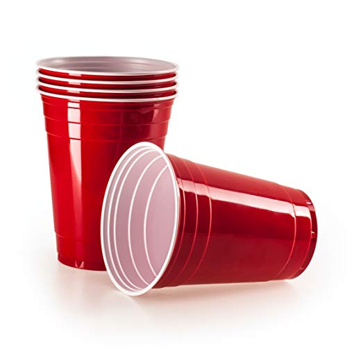 Vivaloo 100 Plastikbecher Trinkbecher - Bierpongset Red Cups, Rote Beer Pong Becher, Partybecher 473ml 16oz