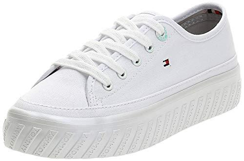 Tommy Hilfiger Damen Outsole Detail Flatform Sneaker, Weiß (White 100), 41 EU