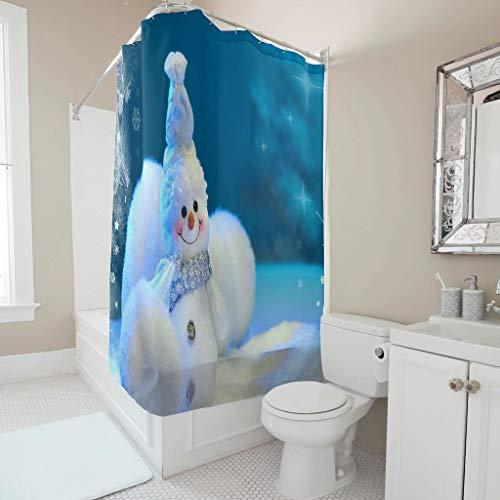 CHSYT Winter sneeuwpop blauw wit douchegordijn badkamer interieur natuurlijk design polyester liner waterdicht studenten decor hotel slaapkamer wit 180x200 cm