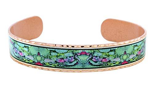 Brazaletes de cobre hechos a mano para unisex, joyas de arte/obras de arte por famoso artista en Santa Fe/Alce/Barredor florecimientos/abstracto/acuarela diseños rosa