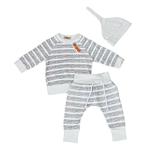 Fossen Ropa Bebe Niña Niño de 0 a 24 Meses Otoño Invierno Rayas Camisetas de Manga Larga y Pantalones y Sombrero (0-6 Meses, Gris)