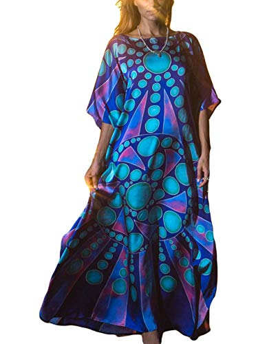 Bsubseach Women Plus Size Geometric Print Long Bikini Cover Up O Neck Batwing Sleeve Beach Kaftan Dress