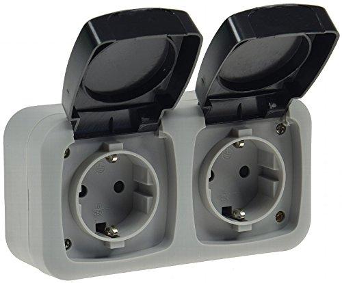Enchufe a prueba de humedad con 2 tomas Enchufe de montaje en superficies, para 250V/50 Hz, max. 16A, IP44. Enchufe estable con dos tomas, gris, para sótano, garaje, cuarto de lavado.