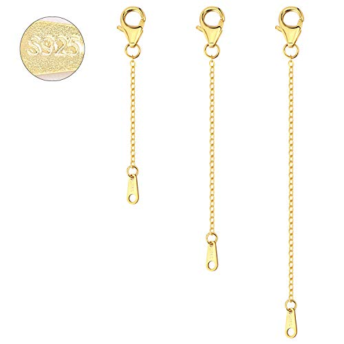 3PCS S925 extensor de cadena con cierres de pinza de langosta conjunto para collar pulsera joyería fabricación al por mayor 2,3,4 cm (oro)