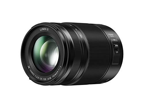 Panasonic LUMIX H-HSA35100 II – Teleobjetivo Zoom para cámaras de montura M4/3 (Focal 35-100 mm, F2.8, tamaño filtro 58 mm, lentes asféricas, resistente agua/polvo/congelación, POWER O.I.S), negro