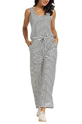 AMPOSH Women's Wide Leg Jumpsuit Sleeveless Casual Tank Romper with Pockets(White & Black Stripes, M)
