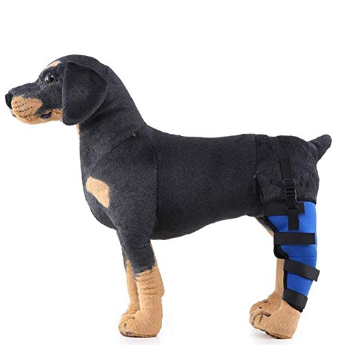 WSJF Hunde-Beinbandagen für Verletzungs- und Verstauchungsschutz, Wundheilung und Stabilitätsverlust durch Arthritis, Gelenkbandage (Farbe: Blau, Größe: rechtes Bein)