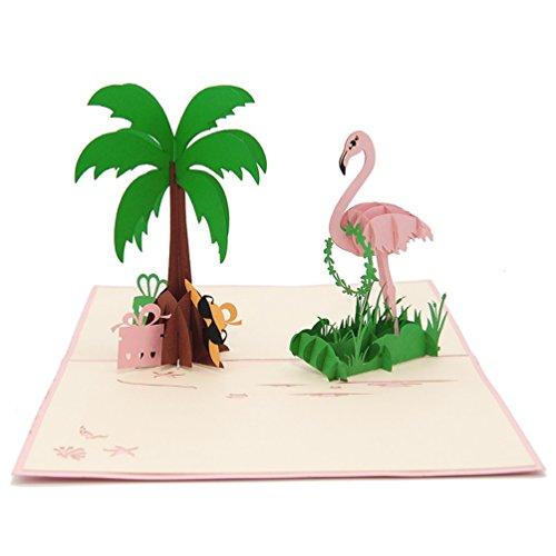 Favour Pop Up Grusskarte. Ein filigranes Kunstwerk, dass sich beim Öffnen als Flamingo mit Palme entfaltet. TF104 (12 x 17)