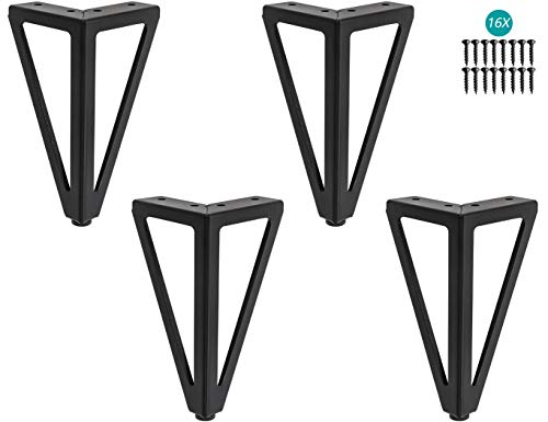 """4 Stück Ersatz Möbelfüße, 6"""" / 15cm Dreieck Schwarze Möbelfüsse, DIY Tischbeine Schrankfüsse, für Stühle, Schrank und Sofa, andere Möbelbeine."""