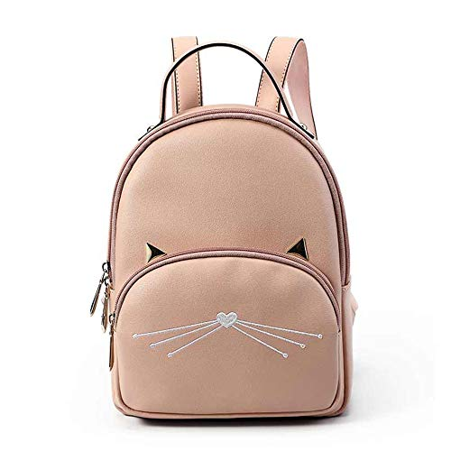 BWYLG krasbestendige rugzak voor dames, nieuwe schoudertas, fashion kat casual zak, speelruimte, waterdicht, anti-diefstal dame bag mom grote capaciteits-outfit rugzak, roze