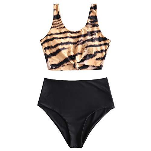 ZAFUL Zweiteiliger verknotet Tankini Beachwear Set, einfarbiger gepolsterter Badeanzug mit Schulterträger & Badehose mit Tropisches Blattmuster für Damen (Tiger-Muster, XXL)