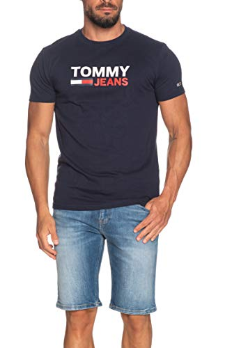 Tommy Jeans TJM Corp Logo tee Camiseta Deporte, Azul (Twilight Navy C87), Medium para Hombre