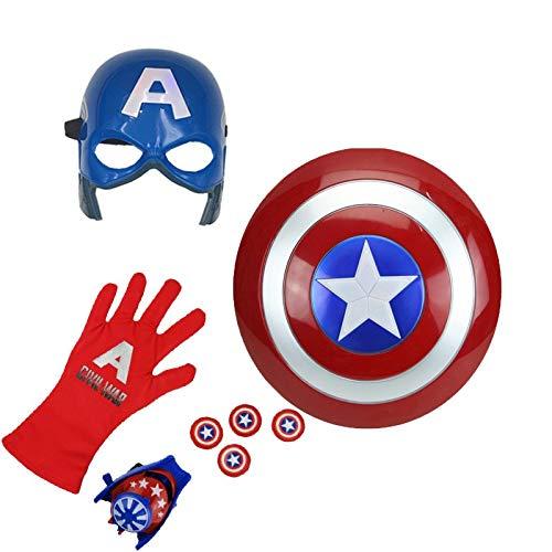 Towel Rings Niños Capitán América Escudo Placa Máscara Vestido Espectáculo Halloween Capa Capa Juguete Masculino Escudo Redondo Marvel Juguete Lanzador Conjunto