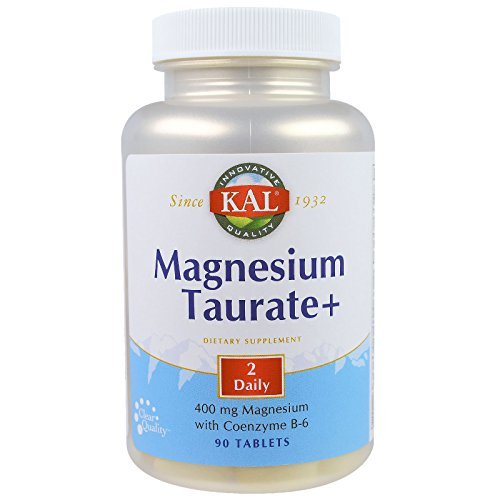 KAL Magnesium Taurate Plus 400mg w/Coenzyme B6 | Highly Bioavailable, Chelated, Vegan | for Normal Nerve, Muscle Function and Heart Health | 90 Tabs | 2 pk