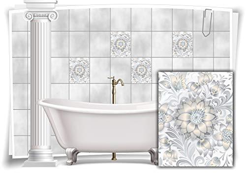 Medianlux Fliesen-Aufkleber Fliesen-Bild Kachel See-Rose Grau Weiß Sticker Bad WC Deko Küche Digitaldruck Folie, 12 Stück, 20x25cm