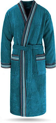 normani Bademantel Set aus 100% Bio-Baumwolle (Bademantel + Handtuch + Waschlappen) für Herren und Damen [S-4XL] Farbe Petrol Größe XL