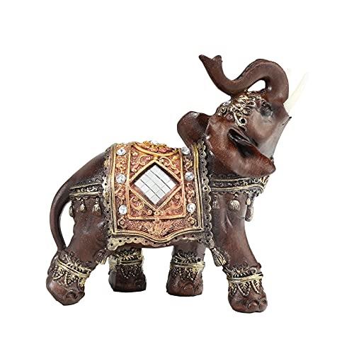 LQKYWNA Elefante decorativo de resina Feng Shui Elefante de la suerte de la riqueza de elefante figura figura figura decorativa para el hogar y
