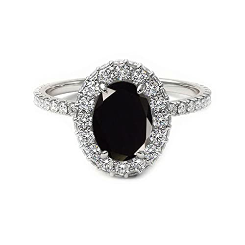 CaratYogi plata de ley ovalada Black Ónix negro natural