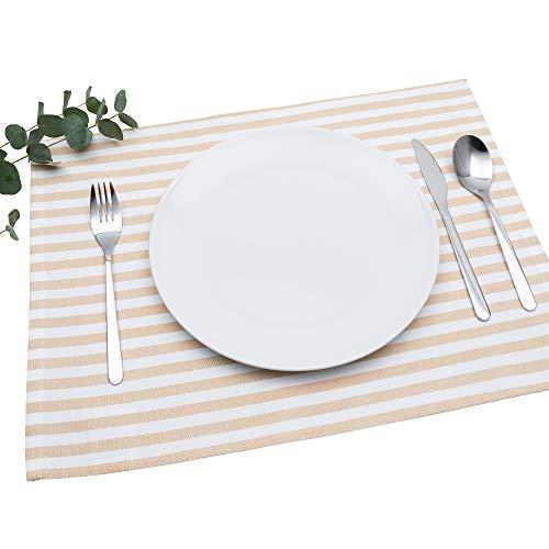 FILU Tischset 4 Stück Beige/Weiß gestreift (Farbe und Design wählbar) 33 x 45 cm - hochwertig gefertigte Platzsets aus 100% Baumwolle im skandinavischen Landhaus-Stil