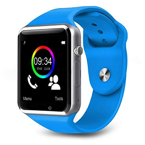 WELLTECH A1 Bluetooth Smart Watch Supports 3G, 4G SIM with Camera and Touch Screen, Multi Language Compatible with Android iOS Mobile, Tablet (Blue)