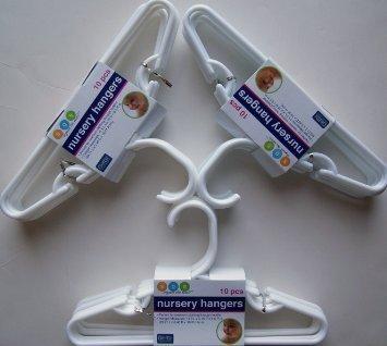 Delta White Nursery Hangers 30 Pack For Baby, Toddler, Kids, Children (3 Packs of 10) by Delta