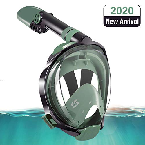 Gocheer Snorkel Mask, Full Face Snorkeling Set Diving Mask Foldable Panoramic View Scuba Snorkeling Mask Swim Mask with Detachable Camera Mount Dry Top Set Anti-Fog Anti-Leak for Adults Only (S/M)
