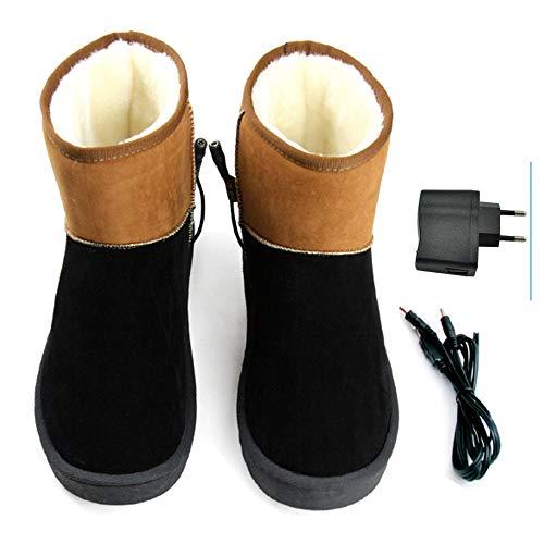 LanXi® USB 5 V 10W wärmende Heizschune mt Karbon Heizelementen, mit weicher Sohle, GrößeS M L XL XXL, wärmende Hausschuhe, Wärmepolster, Fußwärmer, Aufwärmung Kalter Füße (41-42, Schwarzbraun(Mann))