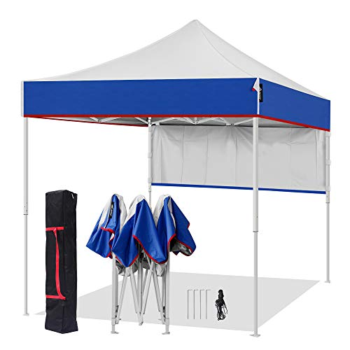 AMERICAN PHOENIX 8x8 Pop Up Tent Instant Outdoor Canopy Portable Shade Folding Tent Carry Bag (White & Blue)
