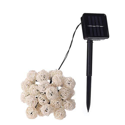 ONEVER 30 LED solaire Tha?lande rotin forme de boule bande de lumi¨¨re LED Lampe d¨¦corative