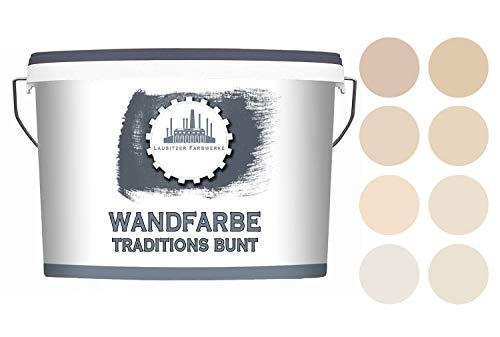 Lausitzer Farbwerke Dispersionsfarbe Beige matt - Wandfarbe für innen QUALITÄT + EINFACHE ANWENDUNG (5 L, Blush Sand 4)