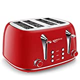 Toaster 4 Slice, Keenstone Retro 4 Slots Stainless Steel Toaster with Bagel, Cancel, Defrost Function - Red