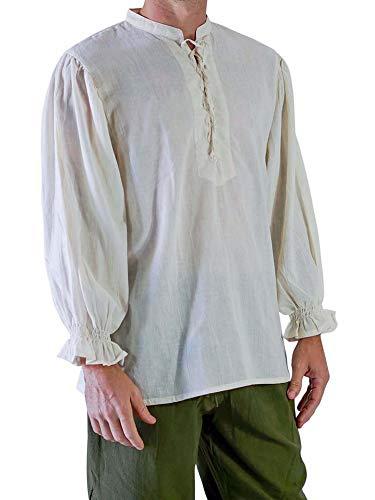 Mensleben Herren Hemd Kurzarm Stehkragen Hemd Body Fit Sommer Leinenhemd 3 Verschiedene Knopfdesgin XL C-weiß