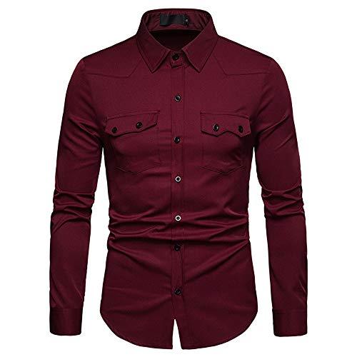 Herren Hemd Slim fit Langarm Casual Basic Männer draussen Shirts Tops Slim-fit Herbst Hemd Herren Oberteile übergang Shirt S