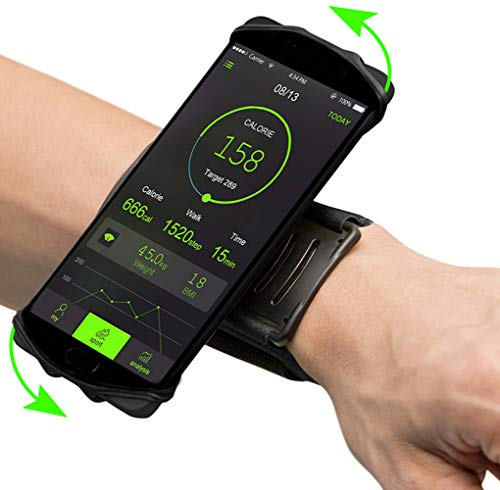 Sports Running Wristband Phone Holder 180° Rotatable Adjustable Forearm Case for iPhone Xs Max 8 7 6 Plus Galaxy S8 S9 S10 A10 A20 Note10 J8 J2 LG Stylo 4 G8 G7 ThinQ Google Pixel 3a OnePlus 7 (Black)