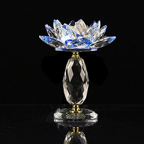 Soporte de Soporte de Velas Candelabros de Cristal Bloque de Vidrio de Cristal Lotus Flower Metal Vela Barata Holders Feng Shui Decoración para el hogar Big Tealight Porta Vela (Color : Blue)