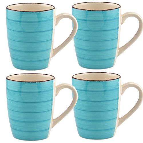 Osnell Lights USA Coffee Mug Set of 2 Turquoise Swirl Stoneware Mugs, 12 oz. for Tea, Cappuccino, Latte, Coffee, Cocoa - Teal Blue