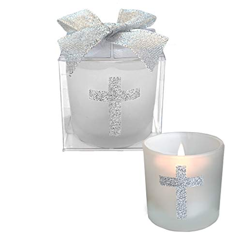Fashioncraft,Wedding Party Bridal Shower Favors, Candle Favors with Sparkling Silver Cross, Set of 24,White