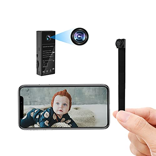 Mini Spy Hidden Cameras Small WiFi Nanny Cam with 2 Lenses HD 1080P 150 Wide Angle Wireless Portable Hidden Spy Cam for Home Security APP with Night Vision Motion Detection