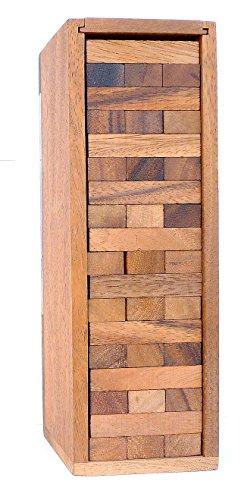 LOGICA GIOCHI Art. CONDOMINIO - Gioco da Tavolo Multigiocatore - Gioco in Legno Naturale Teak - Torre Traballante (Medium)