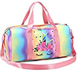 BLUBOON Duffle Bag Girls Kids Cute Gym Bag with Shoes Compartment & Wet Separation Waterproof Sports Overnight Travel Bag