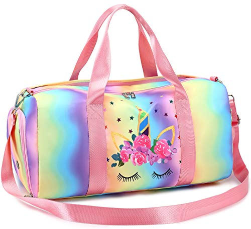 BLUBOON Duffle Bag Girls Cute Gym Bag with Shoes Compartment & Wet Separation Waterproof Kids Sports Bag