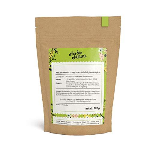 Herbis Natura Teemischung zur Unterstützung der Leberfunktion, loser Tee, Kräutermischung aus 88 % Bio-Kräutern, Lebertee nach Originalrezept, Tee-Kur für 10 Tage, 170 g